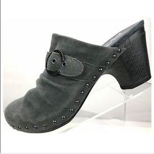Dansko Grey Studded Slide Clog Heels Size 39/9